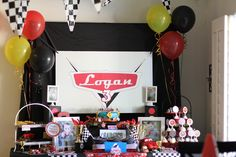 Natalie H's Birthday / Disney Cars - Photo Gallery at Catch My Party Car Themed Parties, Cars Birthday Parties, Birthday Party Decorations, Pixar Cars Birthday, Race Car Birthday, 3rd Birthday, Birthday Ideas, Hot Wheels Party, Disney Cars Party