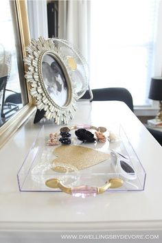 DIY lucite tray with handles
