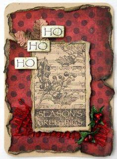 Vintage Christmas card by Beck Beattie using Darkroom Door Yuletide Vol 2 Rubber Stamps.