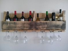 Pallet wine rack and glass holder is great to display your favorite wines. FREE shipping. $75.00, via Etsy.