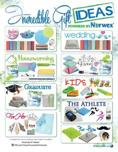 Incredible gift ideas by Norwex.  These are truly great products for proven cleaning and disinfecting without toxic chemicals.  As you can tell, I'm a believer!