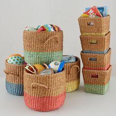 Half Tone Floor Basket (Green)  | The Land of Nod