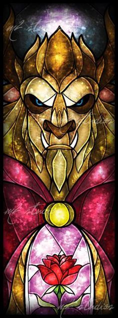 Beast stained glass