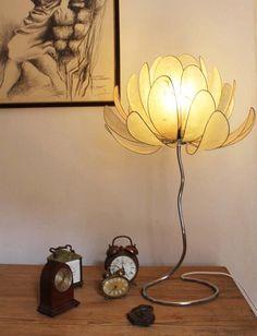 Lamp by Dascasilk on Etsy Flower Lamp, Flower Lights, Fairy Lights, Creative Lamps, Vintage Industrial Lighting, Vintage Light Fixtures, Paper Light, Chandelier Lamp, Chandeliers