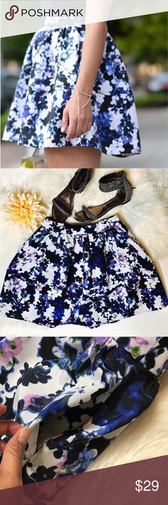 """Express Purple/Blue Floral Skirt S80-I love how girly they are and a little bit of sexy too. How to wear a mini skirt for summer night outs is super easy. Pair with a simple cotton tank, high heels and you're good to go! Laid flat across @ waist: 13.5"""", Length:18"""". NWOT Express Skirts Mini"""