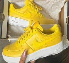 Bright yellow Nike Air Force ones Sock Shoes, Shoe Boots, Stilettos, Pumps, High Heels, Nike Shoes, Shoes Sneakers, Shoes Trainers Nike, Women's Shoes