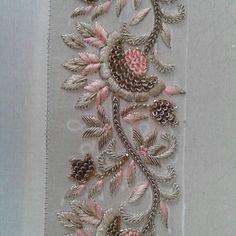 L A V A N Y A L O N D O N Dupatta embroidery for bespoke lengha choli bespoke lavanyalondon lavanyawoman Zardosi Embroidery, Tambour Embroidery, Hand Work Embroidery, Couture Embroidery, Embroidery Motifs, Hand Embroidery Designs, Embroidery Dress, Sequin Embroidery, Ribbon Embroidery