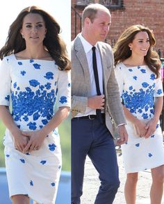 The Duke and Duchess of Cambridge are currently visiting Bute Mills in Luton to open Youthscape, a national youth charity helping youngsters with whatever difficulties they may face. So happy to see the return of Kate's LK Bennett 'Lasa' poppy print dress she last wore in Queensland, Australia in 2014!