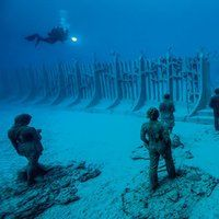 You Can Now Swim In The World's First Underwater Museum In Europe Underwater Sculpture, Underwater Art, Jason Decaires Taylor, Swimming, Concert, World, Atlantic Ocean, Scuba Diving, Museum