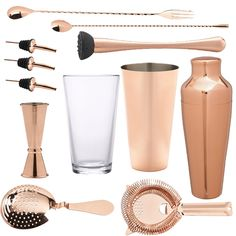 <strong>12 Piece Copper Cocktail Set </strong>- All the tools for the job to make shake andstir your way to cocktail heaven. Ideal for cocktail novices and experts alike. This cocktail set is the perfect starting kitfor all cocktail lovers. This is a stylish and elegant addition to any bar or home and makes a fabulous gift for all keen mixologists.  <ul>   <li><em>1 xGlass Boston Can 16oz</em></li>   <li><em>1xCopper Boston Shaker Can28oz</em></li>   <li><em>1xCopper Cocktail…