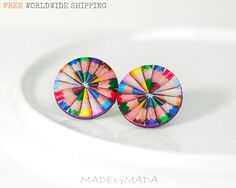 Colorful Pencils Post Earrings,  rainbow colors funky fun studs, Gift for her under 15. $15.00, via Etsy.