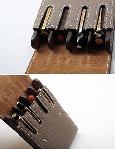 Handmade leather Fountain pen case Pen case waterman by dextannery