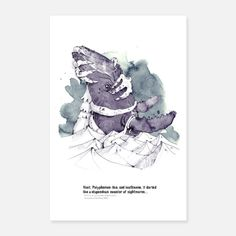 """Digital illustration with watercolor based on the short story """"Dagon"""" by H. Illustration by Matthias Holländer (derholle. Book Illustration, Short Stories, Poster, Watercolor, Pen And Wash, Watercolor Painting, Watercolour, Watercolors, Billboard"""