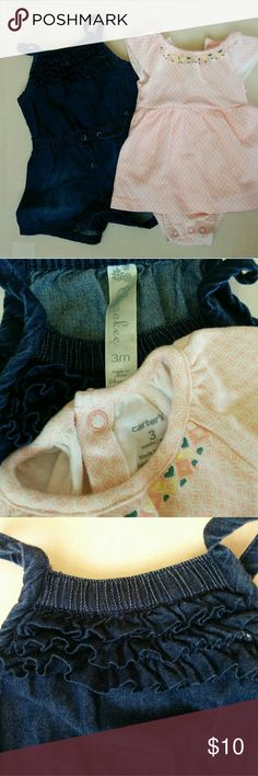 Carter's  & Cherokee, dress & romper The Carter's bodysuit dress is peachy/pink pattern with stitched flowers at neckline. The Cherokee romper is a very light weight denim that is also very soft. Has a darling ruffle detail on bodice/chest area.  Your baby girl is sure to be comfy and cute in these outfits!  Bundle for even more savings! 🎉 Carter's Matching Sets
