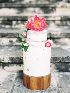 coral charm peony wedding cakes - photo by Marsais http://ruffledblog.com/greenhouse-wedding-anniversary-session