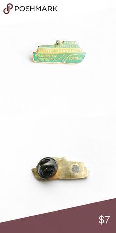 "Vintage Ferry Enamel Pin Vintage Washington State Ferry Softball Team Enamel Pin  • Genuine vintage • 1 1/4"" x 1/2""   • Colors: gold, blue • Themes: pnw, Seattle, boat, ship, captain Vintage Accessories"