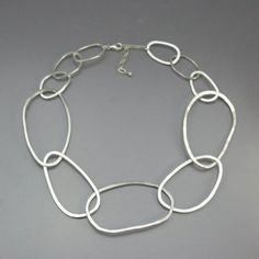 Chunky Silver Chain Necklace Huge Hammered by LizardiJewelry