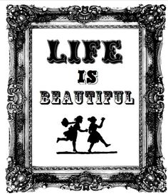 LIFE is beautiful retro black & white wall art A4 by BillieKate