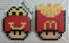 As requested by , here we have a pineapple and popcorn themed mushrooms~ I didn't come up with the designs for these, however I did make the perlers as shown. Full credit goe...