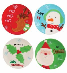 Boston Warehouse Holly Jolly Cocktail Plate Set by Boston Warehouse. $24.99