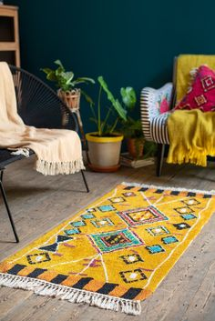 Tafsut Ochre 100% Recycled Cotton Rug                      – Ian Snow Ltd Front Room Furnishings, My Home Design, Berber Rug, Traditional Rugs, Cushion Covers, Beach Mat, Recycling, Outdoor Blanket, Cushions