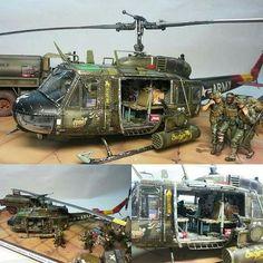 Wow!!! Bell UH-1 diorama. Modeler Colin Telford #scalemodel #plastimodelismo #miniatura #miniature #maqueta #maquette #modelismo #modelisme #modelism #miniatur #plasticmodel #helicopter #helicóptero #bell #plasticmodel #plastimodelo #usinadoskits #udk