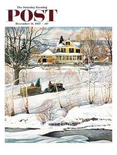 1957 Post Cover Art - Yellow Victorian House Snow - Saturday Evening Post - America New England Christmas - Clymer Vintage Art Print Christmas Cover, Christmas Past, Vintage Christmas, Xmas, Christmas Comics, Country Christmas, The Saturdays, Saturday Evening Post, Winter Scenery