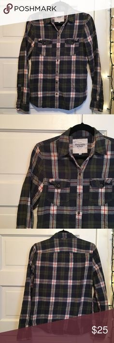 ABERCROMBIE & FITCH FLANNEL SHIRT ✨ Green, blue, white, & red plaid flannel shirt. Soft & comfy, ore loved but in excellent condition. Abercrombie & Fitch Tops Button Down Shirts