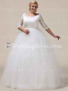 Einfache Plus Size Brautkleid mit 3/4 Ärmeln PS161