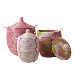 Pink storage baskets from Serena and Lily - so cute for a girl's room or a dressing room