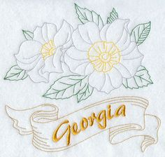 Georgia Cherokee Rose State Flower Flour by EmbroideryEverywhere Machine Embroidery Designs, Embroidery Patterns, Crewel Embroidery, Flower Embroidery, Brown Thrasher, Cherokee Rose, State Birds, Hand Towels, Dish Towels