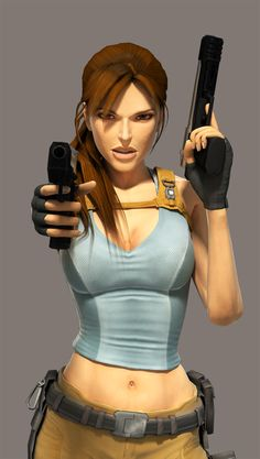 Lara Croft - Gun Pose Clean by SimplyShawn.deviantart.com on @deviantART