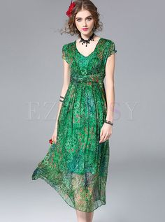 Shop for high quality Bohemian Silk Floral Print V-neck Short Sleeve Skater Dress online at cheap prices and discover fashion at Ezpopsy.com