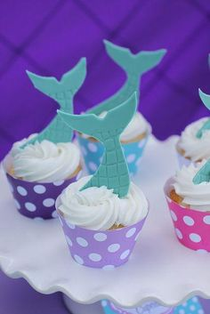 Tail topped cupcakes at a Little Mermaid Birthday Party! See more party ideas… Little Mermaid Cakes, Little Mermaid Birthday, Little Mermaid Parties, The Little Mermaid, Mermaid Cupcakes, Party Cupcakes, Ocean Party, 4th Birthday Parties, 5th Birthday