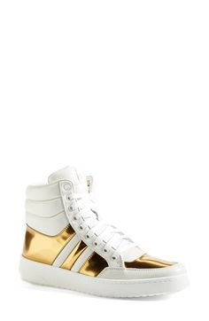 Free shipping and returns on Gucci 'Ronnie' High Top Sneaker (Women) at Nordstrom.com. Gucci's off-duty high-top is spot on trend with golden leather highlights and a crisp white sole. A street-smart design with both retro appeal and modern polish.