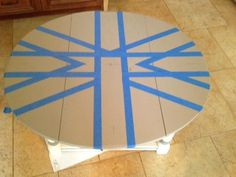 Union Jack table with taped design