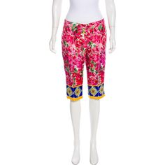 Pre-owned Dolce & Gabbana Silk Tile Print Shorts ($395) ❤ liked on Polyvore featuring shorts, pink, pink silk shorts, dolce gabbana shorts, colorful shorts, pink shorts and long shorts