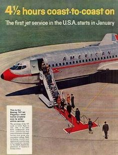 American Airlines Ad from 1958 advertising the first jet service coast to coast! Not only is this a monumental accomplishment, this ad also shows how far back services marketing went. Airlines are a classic example of how important services marketing is.