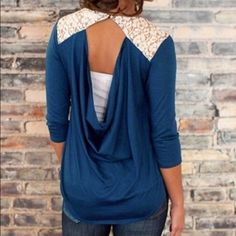 Open back lace top! Sz M - NWOT - perfect  This top is perfect. New without tags. Gorgeous color and amazing back. Very flattering. Lace top, draped back, chic and sexy. Size Medium. Tops Blouses