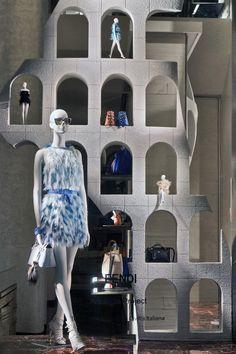 The Fendi window theme 'Traces of Palazzo della Civiltà Italiana' at the Madison Avenue boutique in New York