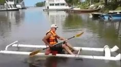 Here's one man showing off his creativity with plumbing supplies. If you've ever gone into a kayak store and seen how little $1500 will buy you, you might just find yourself motivated to make one of these! It looks easy enough, and you've gotta figure that if PVC cement can keep water in the pipes, it can certainly keep water out too! The connection in the rear keeps the pipes at an adequate distance apart. The cross member forward of the midsection is a foot rest, and notice the 45…