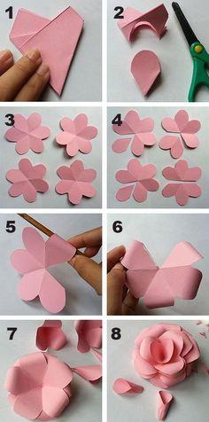 Diy paper flowers crafts how to make 60 trendy Ideas Paper Flower Backdrop, Giant Paper Flowers, Paper Roses, Diy Flowers, Flower Diy, Paper Flowers Craft, Papier Diy, Fleurs Diy, Craft Images