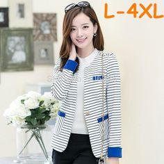 668d2b4aee1 2015 new Korean style extra plus size long sleeve single breasted striped  blazer women blaser feminino