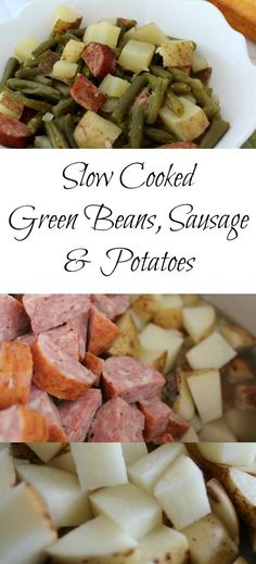 For me this slow cooker recipe of green beans, sausage and potatoes is easy to fall back on as I can have everything chopped and in the slow cooker within 10 minutes and be out the door! - Teaspoon Of Goodness slow cooker recipes healthy Crockpot Dishes, Crock Pot Slow Cooker, Crock Pot Cooking, Cooking Recipes, Healthy Recipes, Slow Cooker Sausage Recipes, Cooking Games, Lunch Recipes, Gastronomia