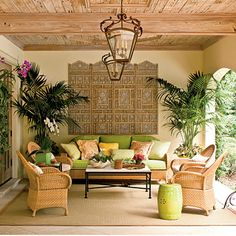 Lush Loggia Patio - Miami designers Mimi McMakin & Ashley Sharpe of Kemble Interiors were inspired by the surrounding gardens & vintage Palm Beach style when they created this tropical patio. Decor, Home And Garden, Tropical Interior, Patio Decor, Wicker Furniture, Home Decor, Tropical Decor, Porch, Colonial Living Room
