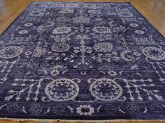 9' x 12' Handmade Oriental Rug Wool and Silk Purple Tabriz Tone on Tone