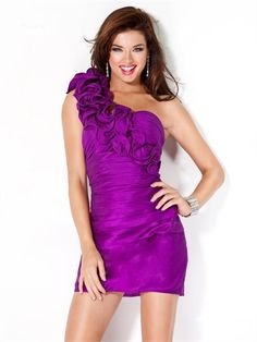 Slim-line One shoulder with Ruffles and Pleatings Short Homecoming Dress HD1773 www.homecomingstore.com $126.0000