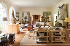 In accord with Shapiro's signature layered aesthetic, the Holmby Hills living room mixes artworks, furniture and decorative arts from a variety of periods and with a range of provenances.