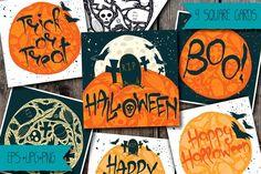 9 Halloween Greeting Cards by Anastasiia Macaluso on @creativemarket