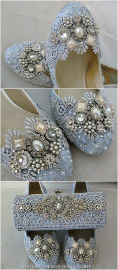 Low Heel Blue Lace Wedding Shoes / http://www.deerpearlflowers.com/vintage-lace-wedding-shoes/2/